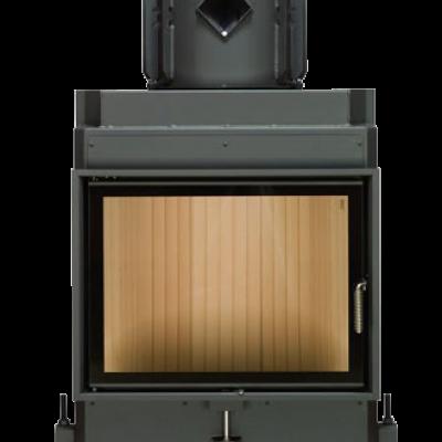 Камин Компакт с прямым стеклом и с горизонтальным открытием дверец 51/67