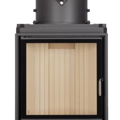 Камин Компакт с прямым стеклом и с горизонтальным открытием дверец 57/55