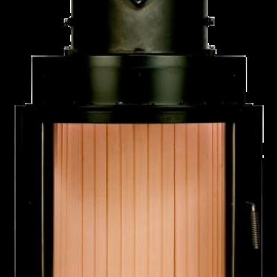Камин Компакт с изогнутым стеклом и с горизонтальным открытием дверец 51/55
