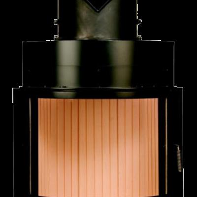 Камин Компакт с изогнутым стеклом и с горизонтальным открытием дверец 51/67