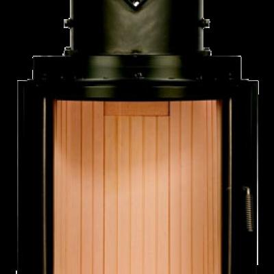 Камин Компакт с изогнутым стеклом и с горизонтальным открытием дверец 57/55